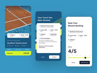 Court Angel Tennis App: Book A Court tennis mobile interface graphic court angel sport flat design app