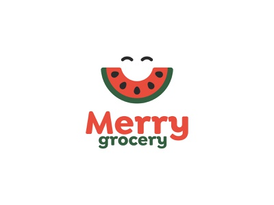 Merry Grocery Logo for Dribbble Weekly Warm up merry melon vegetable red green store watermelon dribbbleweeklywarmup grocery fruit happy smile natural design logomark dribbble logo
