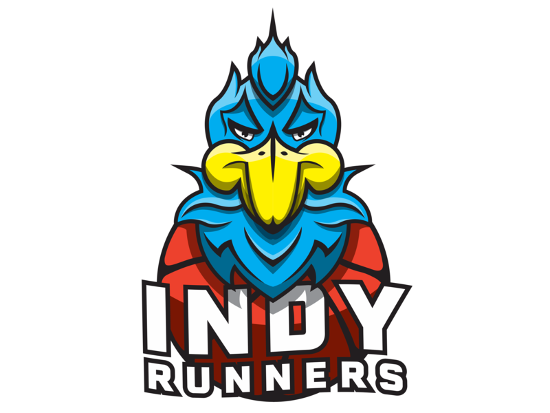 Indy Runners roadrunner runners sport basketball indiana bird road runner sports gaming esports illustration print concept branding sketch fireworks brand vector logo design