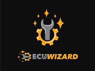 ECU Wizard wizard grey orange gold silver gear spanner artwork vector sketch design brand logo ecu cars mechanic
