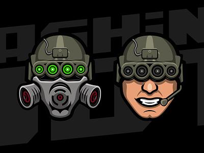 Dashing Dot esports illustration branding sketch vector helmet military fps gaing twitch design brand logo
