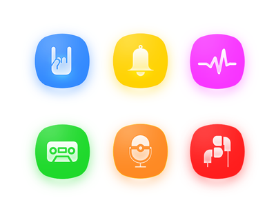 Music Icon orange green blue yellow red color app music icon