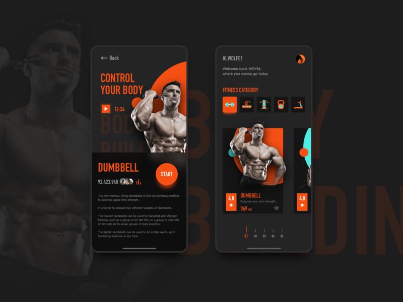 Fitness app c4d ui