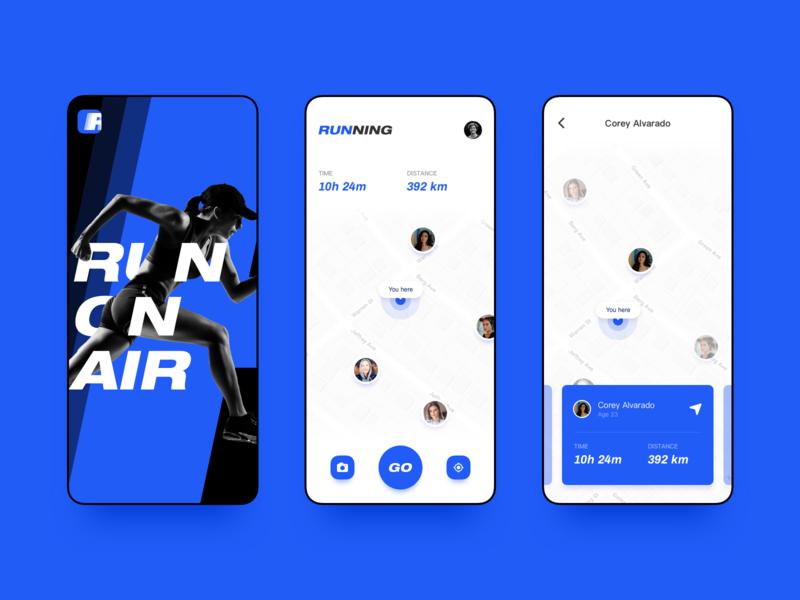 UI design of running social app logo app design 设计 app ux design ui