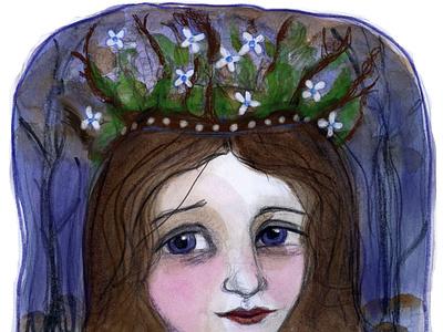 Folktaleweek Crown Queen Mab folktale folklore watercolor painting character design portrait painting illustration