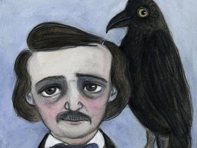Edgar and the Raven character design portrait literature edgar allan poe victorian portrait painting illustration