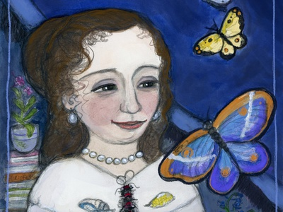 Maria Sibylla Merian and the Butterflies 18thcentury nature art science watercolor painting portrait painting illustration
