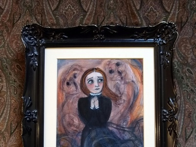 Debra Styer, The Smoke Ghosts, 2020 fires global warming watercolor portrait painting victorian portrait painting illustration illu