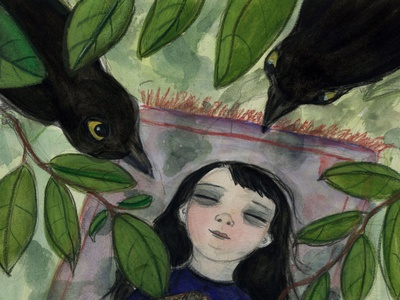 A Gothic Tale by Debra Styer reading literature dreaming ravens nature watercolor painting portrait painting illustration ill