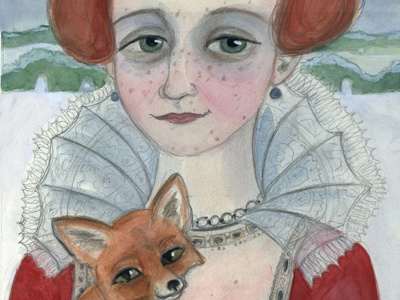 Red Fox in Winter character portrait illustration fox winter portrait painting 16th century watercolor elizabethan period