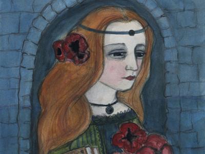 Lady Lilith Portrait painting watercolor illustration character design portrait painting pre-raphaelite