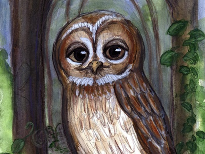 Watching From Above animal art illustration 19thcentury halloween victorian birds watercolor cemetery animal owl