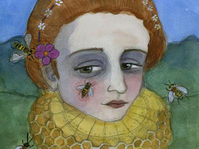 The Queen of the Bees art painting character design watercolor art portrait art portrait elizabethan watercolor illustration