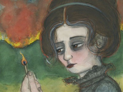 Waiting in the Ashes 19th century illustration art elements fire watercolor design character design victorian portrait painting illustration