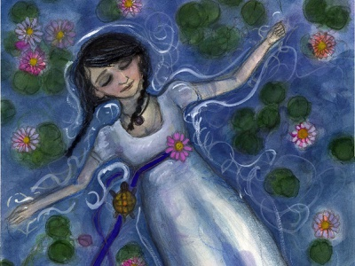 Floating Among the Lilies character design painting victorian portrait painting illustration