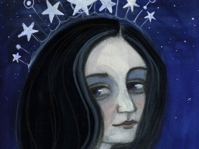 With Her Head in the Stars painting illustration portrait painting watercolor
