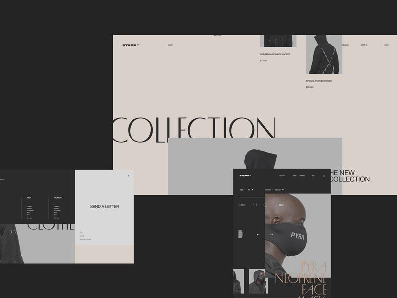 Stamp store ecommerce minimal ux interface ui clean site web fullscreen