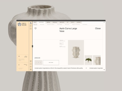 Decoroom. Card design ecommerce minimal ux interface ui clean site web fullscreen