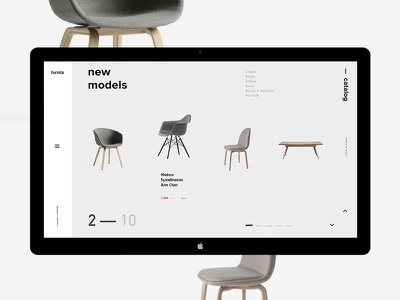 Furnita / new models promo desktop minimal showroom clean fullscreen website furniture