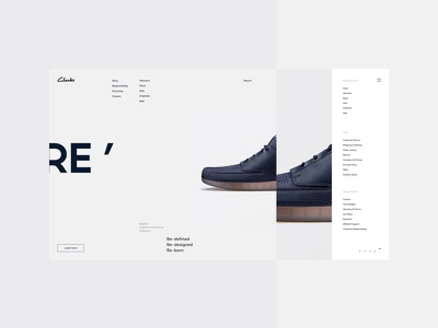 Clarks light minimal clean fullscreen site webdesign web