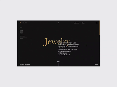 Krastsvetmet. Jewelry division. First ver. animation corporate promo ux ui interface site web fullscreen