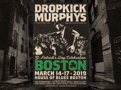 Dropkick Murphys - St Patrick's Day Celebration 11x17 11x17 poster show poster flogging molly live music typography poster tour poster admat punk rock boston celtic dropkick murphys
