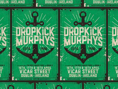 Dropkick Murphys - Dublin, Ireland Poster anchor punk rock dublin ireland dublin music poster admat vicar street ireland dropkick murphys