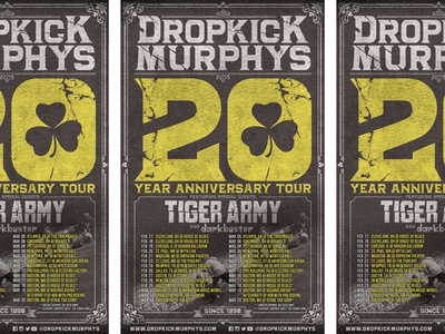 Dropkick Murphys 20th Anniversary Tour Poster punk poster music typography dropkick murphys