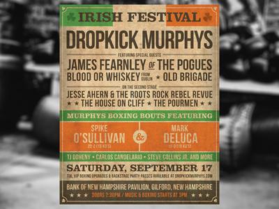 Dropkick Murphys & Murphys Boxing Poster retro typography new hampshire irish festival irish the pogues boxing old school murphys boxing dropkick murphys vintage boxing poster