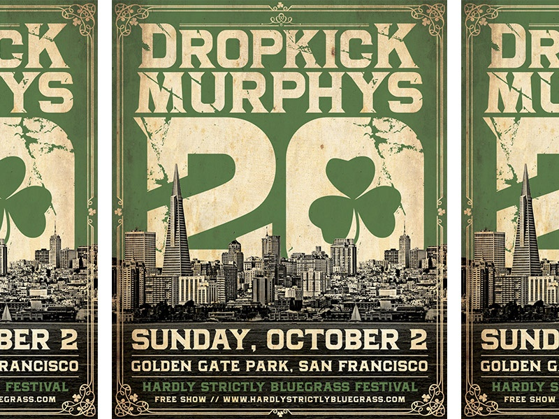 Dropkick Murphys - 20th Anniversary, San Francisco Poster poster concert rock punk city vintage typography golden gate park san francisco dropkick murphys