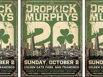 Dropkick Murphys - 20th Anniversary, San Francisco Poster poster concert rock punk city vintage typography golden gate park san francisco dropkick murphys