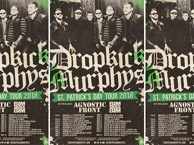 Dropkick Murphys - St. Patrick's Day Tour 2018 admat tour poster band music poster rock punk rock st. patricks day dropkick murphys
