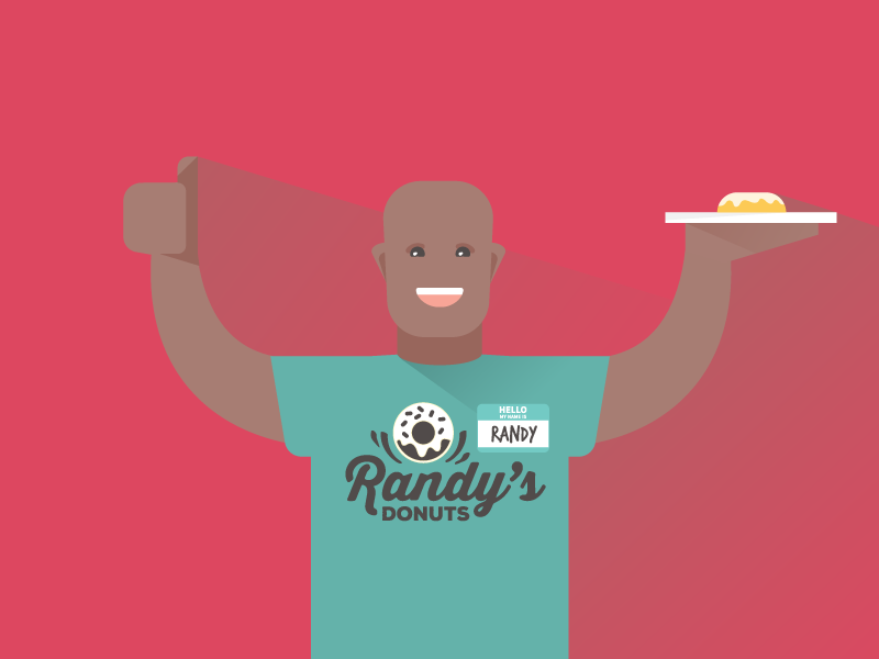 Randy happy smile thumbs up donut bald frame character illustration