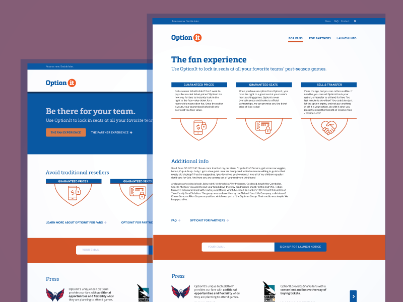 Value prop site for sports ticketing company tickets sports icons orange blue clean minimal landing page web ux