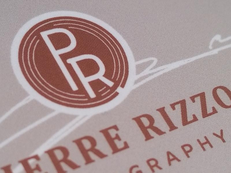 Pierre Rizzo Photography Logo brandmark beige rust emblem monogram signature photographer photography brand identity logo