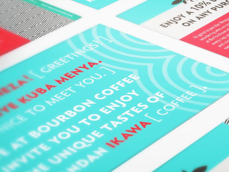 Store Opening Promo bright blue pattern rwanda promotion promo postcard