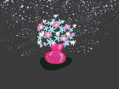 Goodnight flowers bouquet floral white blue pink stars handdrawn vase flowers texture illustration
