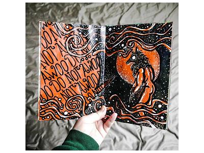 Do not awoo! orange sketchbook painting acrylics halloween awoo werewolf illustration