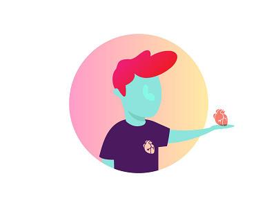 Giving a Like human gradient heart like illustration