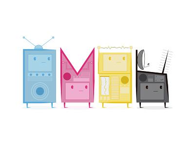 CMYK Robots illustration robots cmyk black yellow magenta cyan