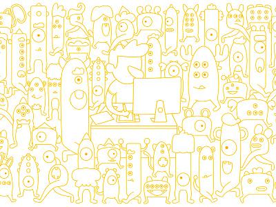 Monster Party vector illustration monster yellow outline