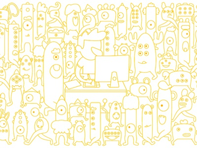 Monster Party vector illustration monster yellow outline