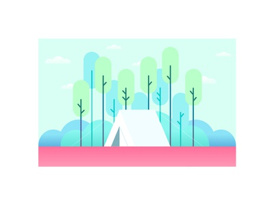 Tent green tree forest illustration tent