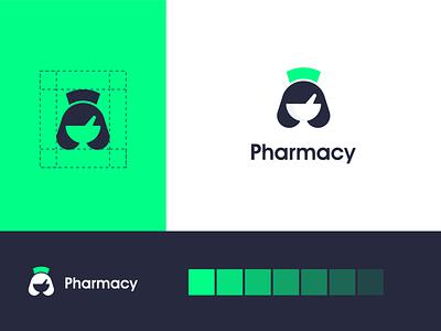 pharmacy logo akdesain design logo type creative illustration minimal logo design negative space nature women pharmacy pharma nurse