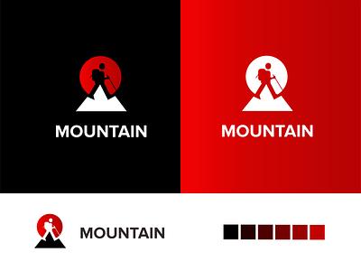 Hike Mountain logo design akdesain creative illustration logo design minimal negative space hikers wild mountain hiking hike