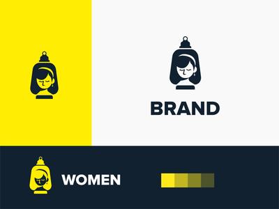 Light Women Logo typography illustration creative logo type logo design minimal negative space shinny lampion bright light girls ladies women