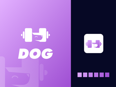 Fit Dog Logo akdesain logo design branding logo design minimal negative space dog logo dogs fitness app puppy animal dog fit