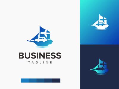 On The Ship Logo illustration branding logo design logo design negative space sea water shipment shipping logistic boat airplane car ship