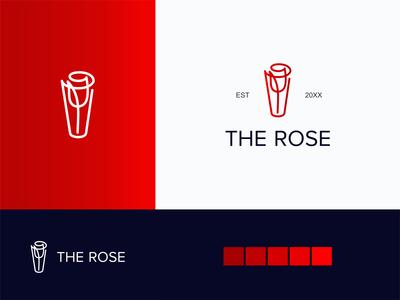 Rose logo creative minimal logo branding logo design negative space news flowers flower logo rose gold roses boutique line flower rose
