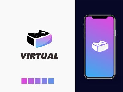 game vr logo logo minimal negative space logo design virtual reality game virtualreality virtual vr